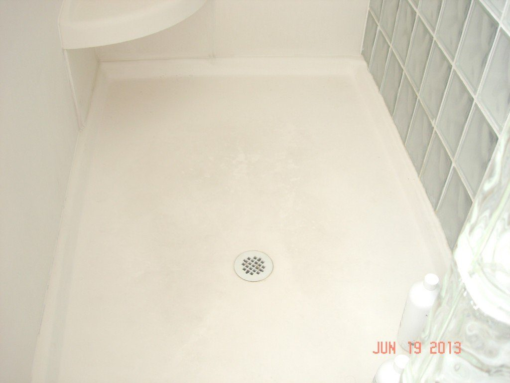 Soap Scum on Shower Floor Before
