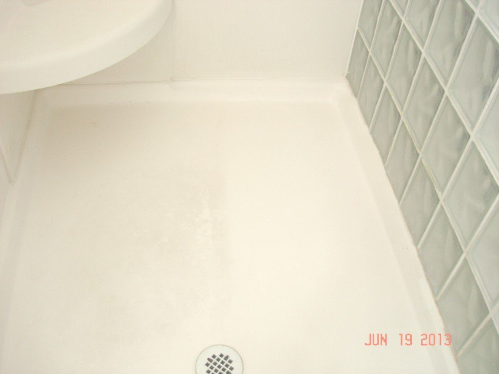 Steam Mop Shower Floor Before and After