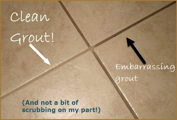 Tile Grout Before and After